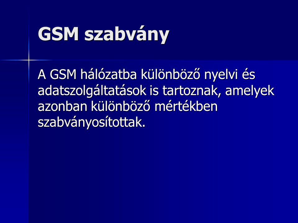 GSM szabvány A GSM hálózatba különböző nyelvi és adatszolgáltatások is tartoznak, amelyek azonban különböző mértékben szabványosítottak.