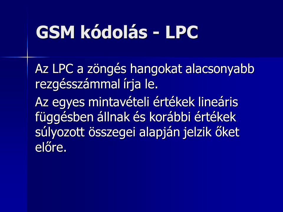 GSM kódolás - LPC Az LPC a zöngés hangokat alacsonyabb rezgésszámmal írja le. Az egyes mintavételi értékek lineáris függésben állnak és korábbi értéke