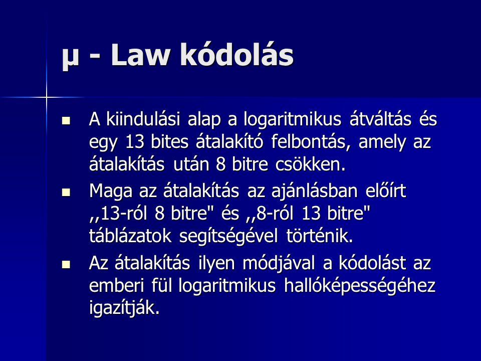 μ - Law kódolás A kiindulási alap a logaritmikus átváltás és egy 13 bites átalakító felbontás, amely az átalakítás után 8 bitre csökken. A kiindulási