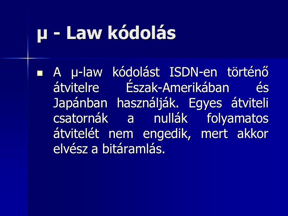 μ - Law kódolás A μ-law kódolást ISDN-en történő átvitelre Észak-Amerikában és Japánban használják. Egyes átviteli csatornák a nullák folyamatos átvit