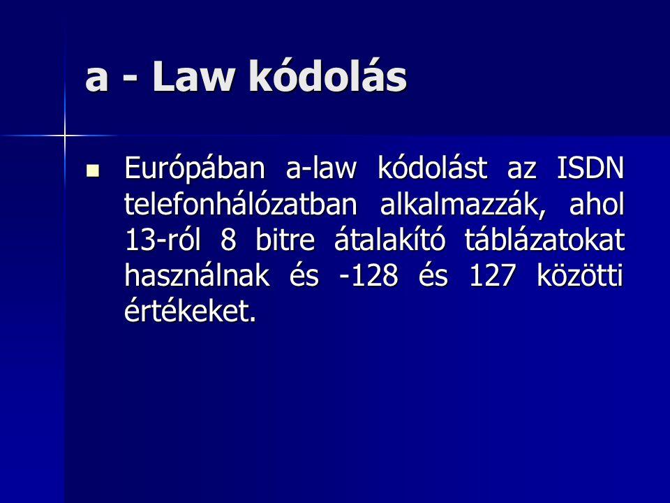 a - Law kódolás Európában a-law kódolást az ISDN telefonhálózatban alkalmazzák, ahol 13-ról 8 bitre átalakító táblázatokat használnak és -128 és 127 k