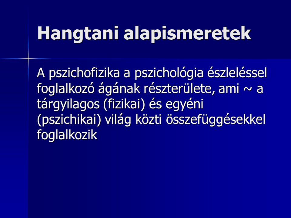 Hangtani alapismeretek A pszichofizika a pszichológia észleléssel foglalkozó ágának részterülete, ami ~ a tárgyilagos (fizikai) és egyéni (pszichikai)