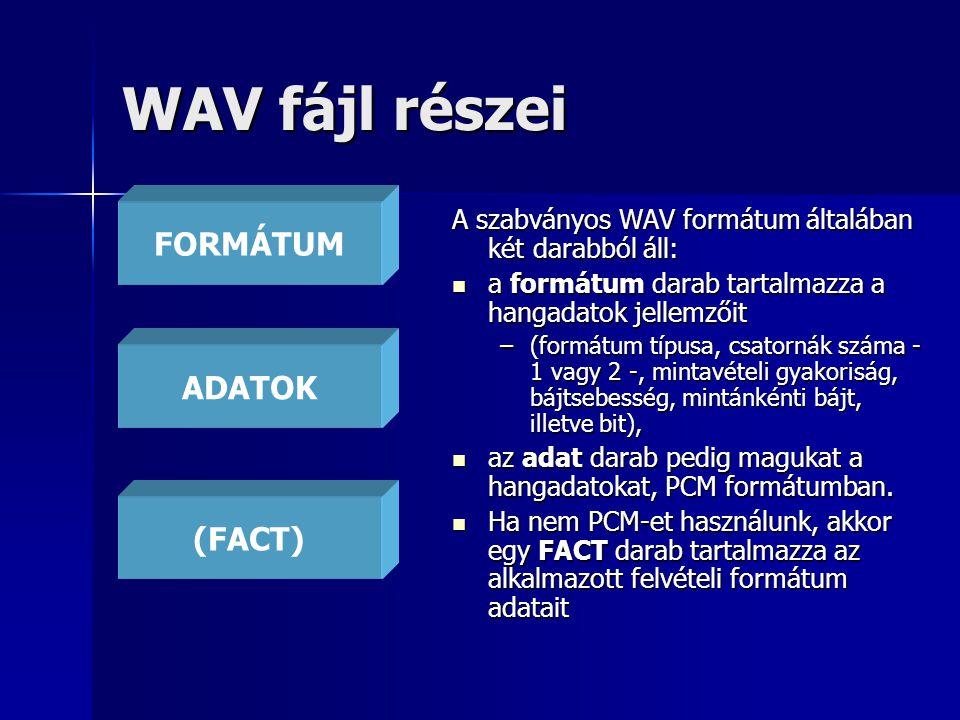WAV fájl részei A szabványos WAV formátum általában két darabból áll: a formátum darab tartalmazza a hangadatok jellemzőit a formátum darab tartalmazz