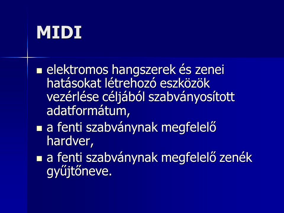 MIDI elektromos hangszerek és zenei hatásokat létrehozó eszközök vezérlése céljából szabványosított adatformátum, elektromos hangszerek és zenei hatás