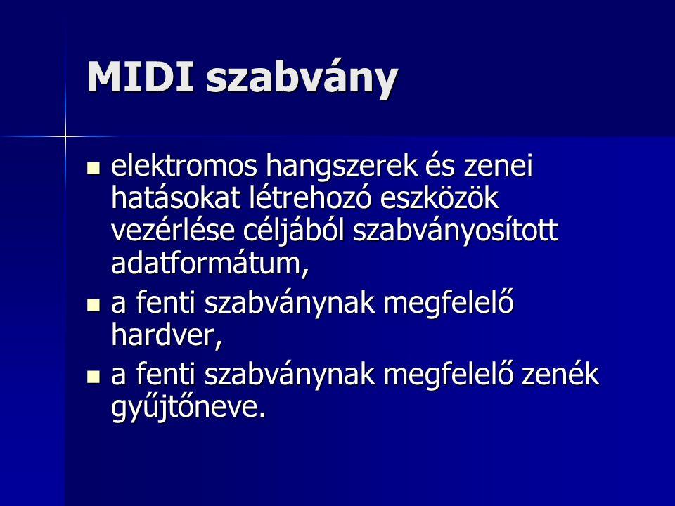 MIDI szabvány elektromos hangszerek és zenei hatásokat létrehozó eszközök vezérlése céljából szabványosított adatformátum, elektromos hangszerek és ze