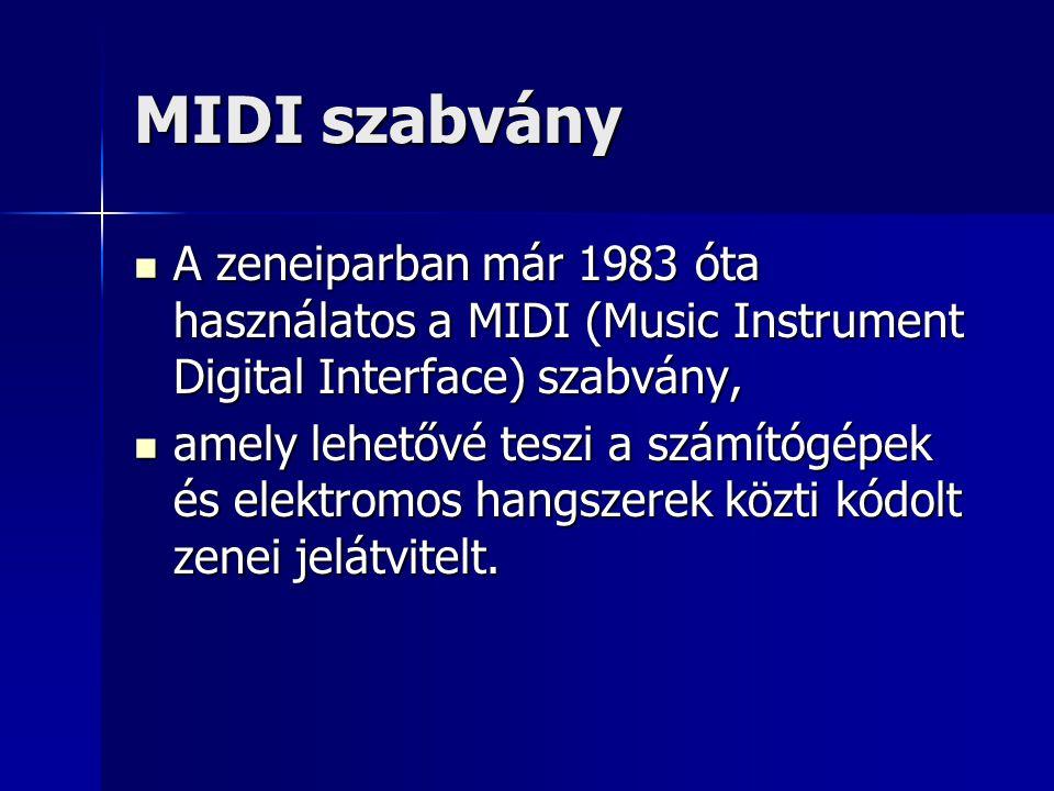 MIDI szabvány A zeneiparban már 1983 óta használatos a MIDI (Music Instrument Digital Interface) szabvány, A zeneiparban már 1983 óta használatos a MI