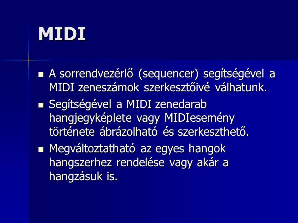 MIDI A sorrendvezérlő (sequencer) segítségével a MIDI zeneszámok szerkesztőivé válhatunk. A sorrendvezérlő (sequencer) segítségével a MIDI zeneszámok
