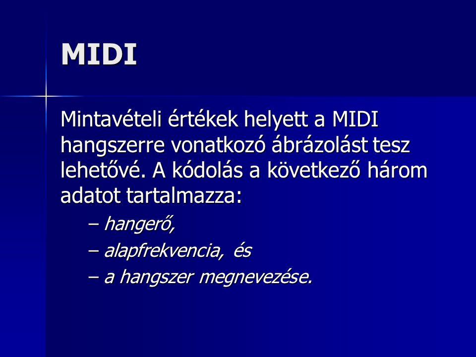 MIDI Mintavételi értékek helyett a MIDI hangszerre vonatkozó ábrázolást tesz lehetővé. A kódolás a következő három adatot tartalmazza: –hangerő, –alap