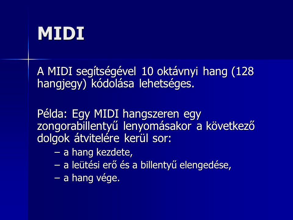 MIDI A MIDI segítségével 10 oktávnyi hang (128 hangjegy) kódolása lehetséges. Példa: Egy MIDI hangszeren egy zongorabillentyű lenyomásakor a következő