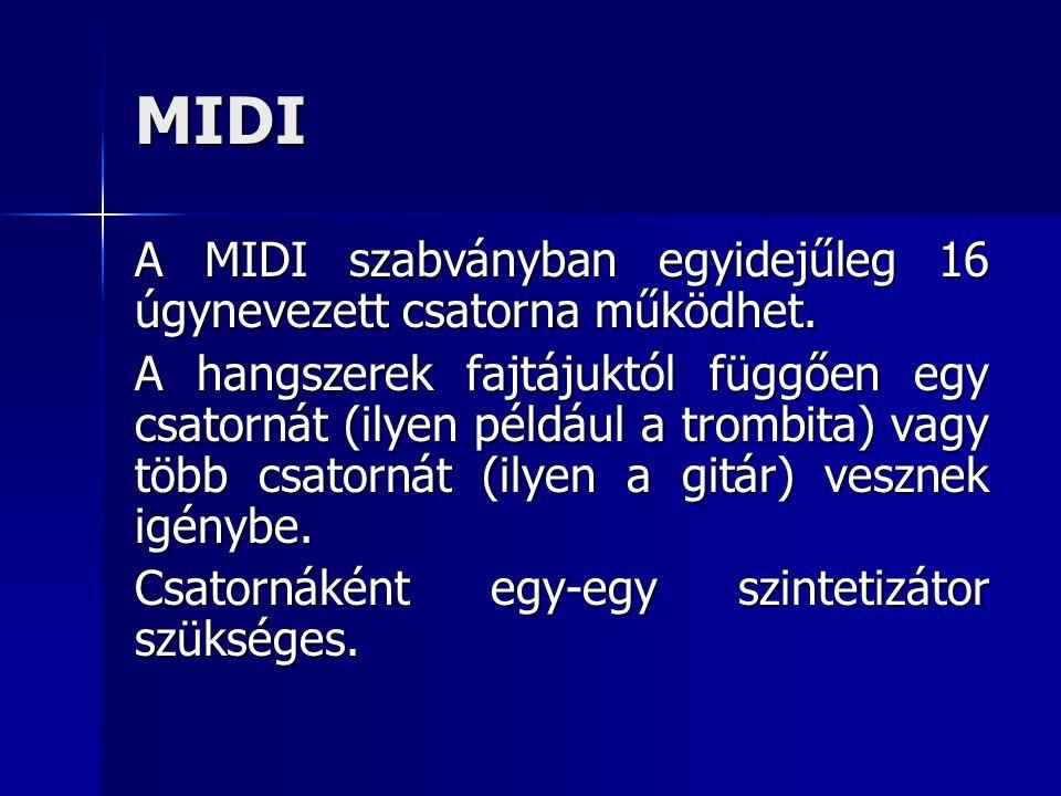 MIDI A MIDI szabványban egyidejűleg 16 úgynevezett csatorna működhet. A hangszerek fajtájuktól függően egy csatornát (ilyen például a trombita) vagy t