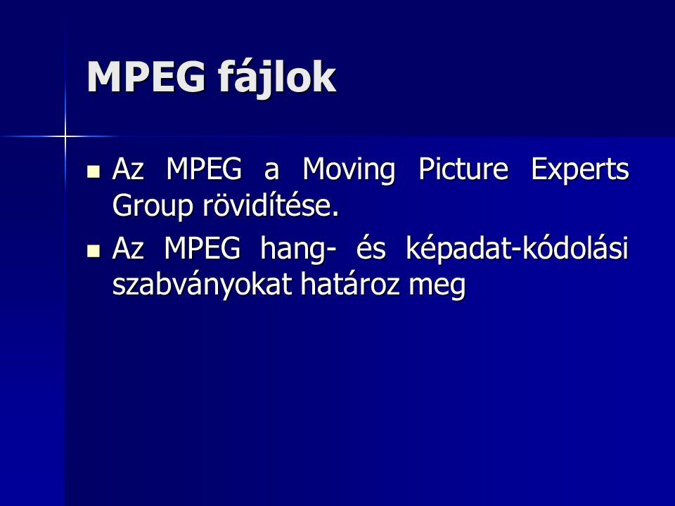 MPEG fájlok Az MPEG a Moving Picture Experts Group rövidítése. Az MPEG a Moving Picture Experts Group rövidítése. Az MPEG hang- és képadat-kódolási sz