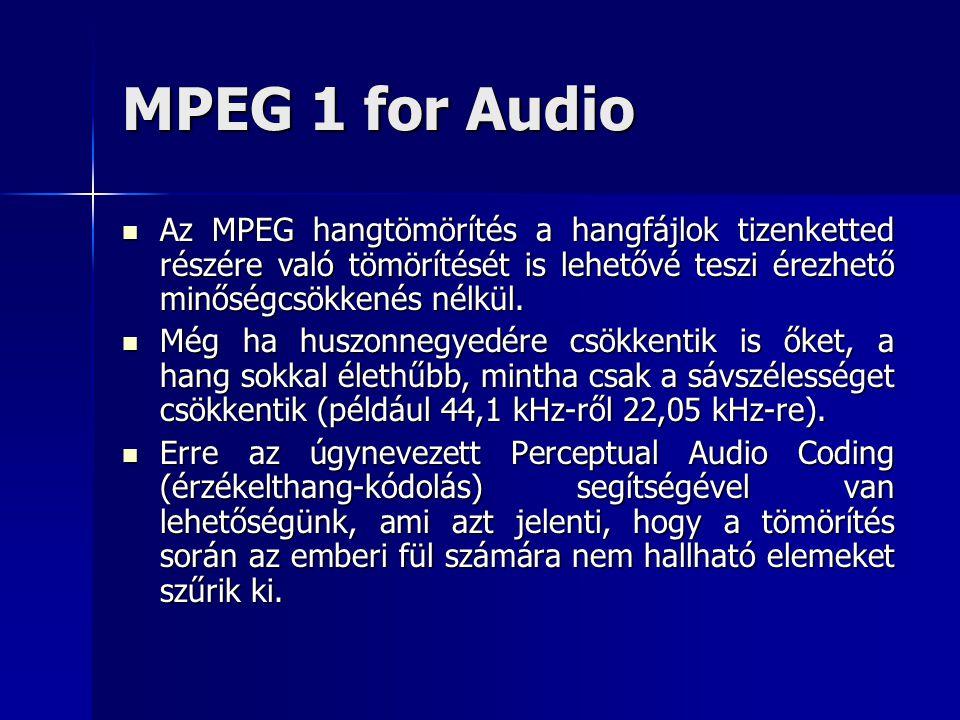 MPEG 1 for Audio Az MPEG hangtömörítés a hangfájlok tizenketted részére való tömörítését is lehetővé teszi érezhető minőségcsökkenés nélkül. Az MPEG h