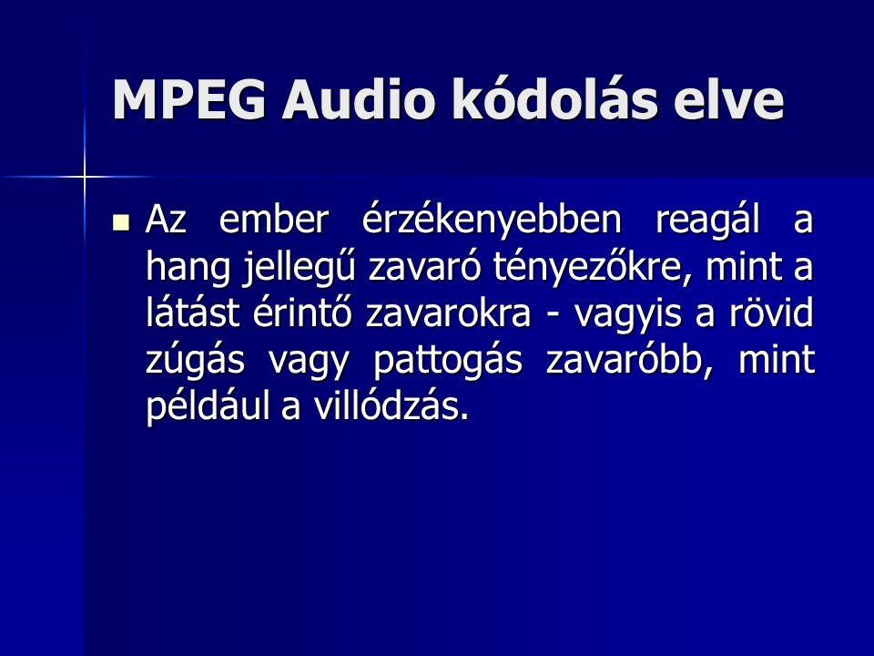 MPEG Audio kódolás elve Az ember érzékenyebben reagál a hang jellegű zavaró tényezőkre, mint a látást érintő zavarokra - vagyis a rövid zúgás vagy pat