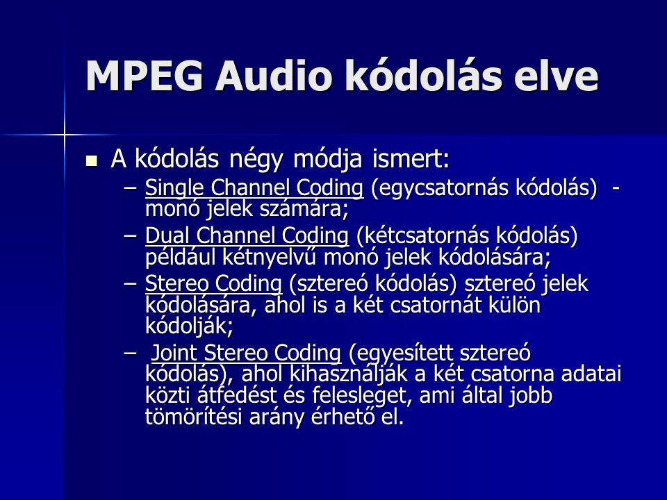 MPEG Audio kódolás elve A kódolás négy módja ismert: A kódolás négy módja ismert: –Single Channel Coding (egycsatornás kódolás) - monó jelek számára;