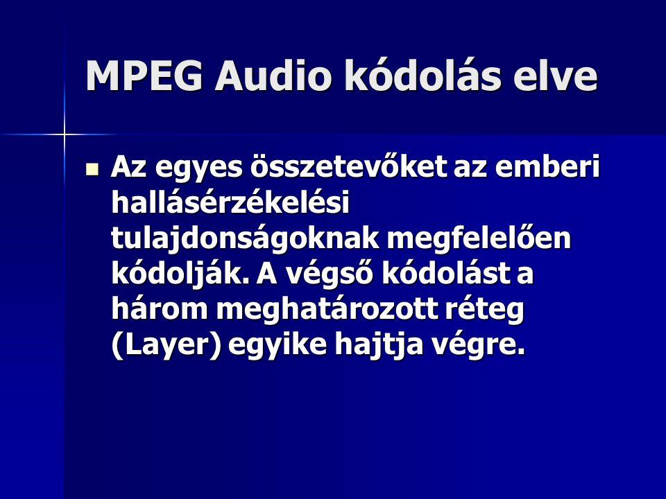 MPEG Audio kódolás elve Az egyes összetevőket az emberi hallásérzékelési tulajdonságoknak megfelelően kódolják. A végső kódolást a három meghatározott