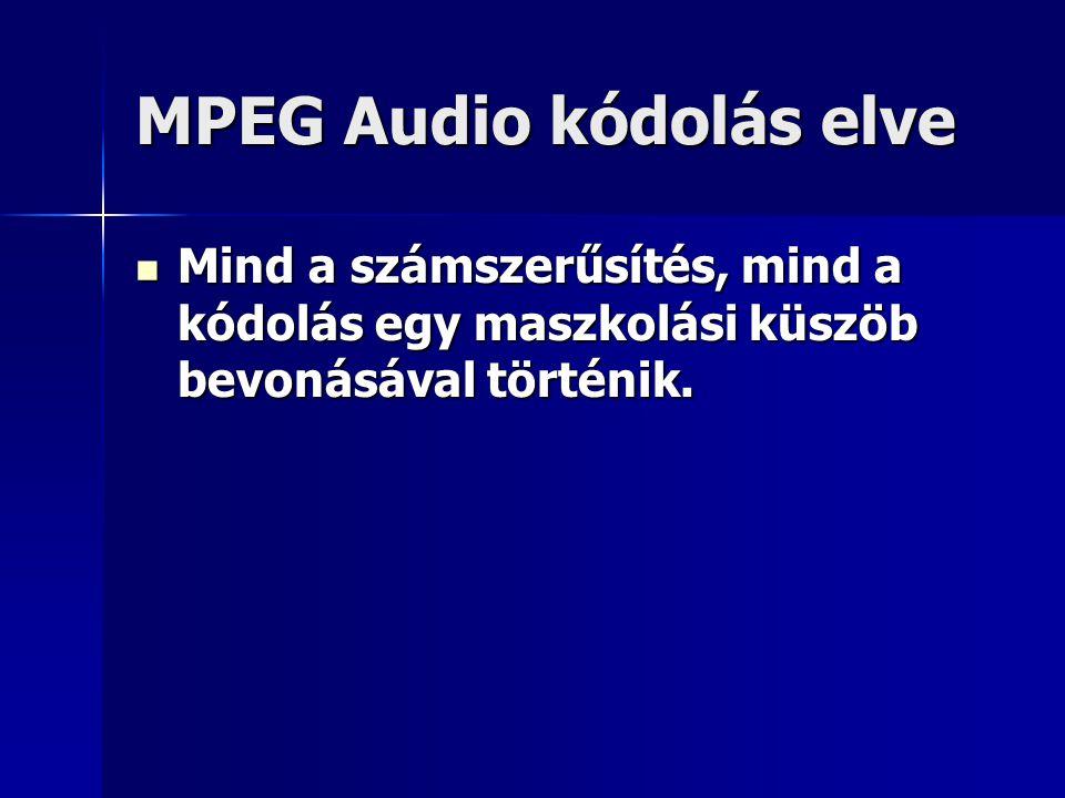 MPEG Audio kódolás elve Mind a számszerűsítés, mind a kódolás egy maszkolási küszöb bevonásával történik. Mind a számszerűsítés, mind a kódolás egy ma