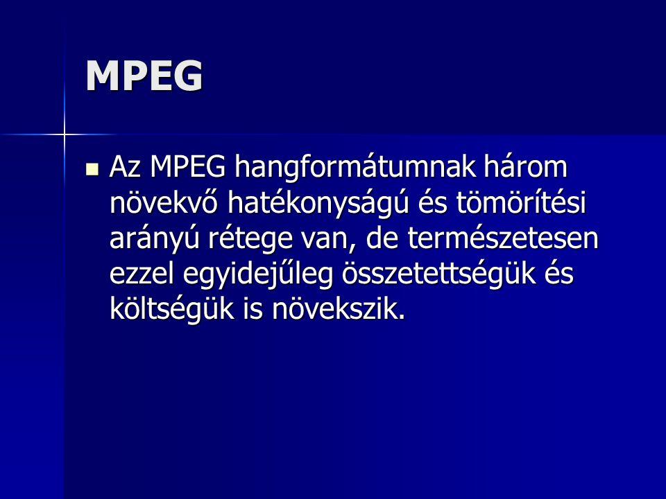 MPEG Az MPEG hangformátumnak három növekvő hatékonyságú és tömörítési arányú rétege van, de természetesen ezzel egyidejűleg összetettségük és költségü