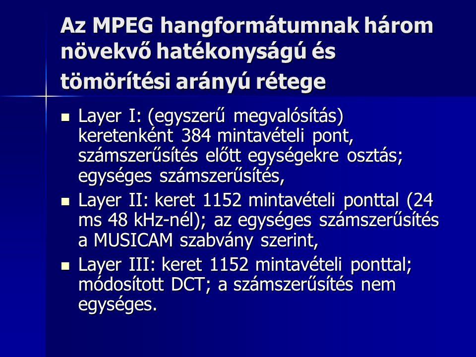 Az MPEG hangformátumnak három növekvő hatékonyságú és tömörítési arányú rétege Layer I: (egyszerű megvalósítás) keretenként 384 mintavételi pont, szám