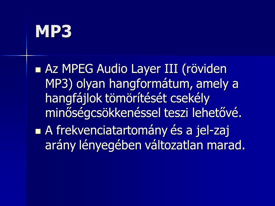 MP3 Az MPEG Audio Layer III (röviden MP3) olyan hangformátum, amely a hangfájlok tömörítését csekély minőségcsökkenéssel teszi lehetővé. Az MPEG Audio