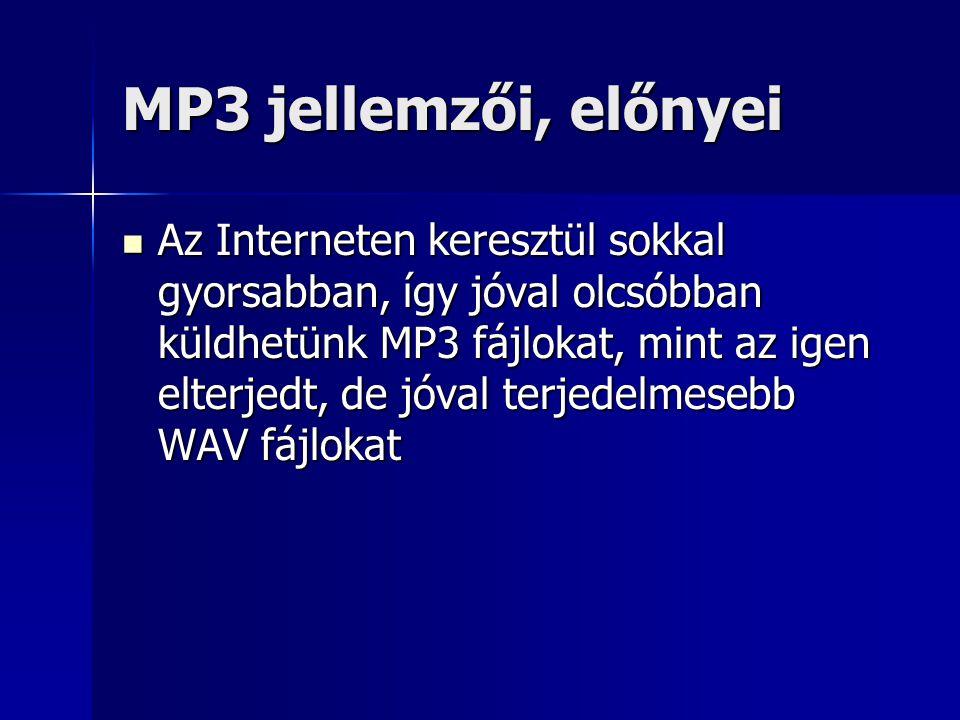 MP3 jellemzői, előnyei Az Interneten keresztül sokkal gyorsabban, így jóval olcsóbban küldhetünk MP3 fájlokat, mint az igen elterjedt, de jóval terjed