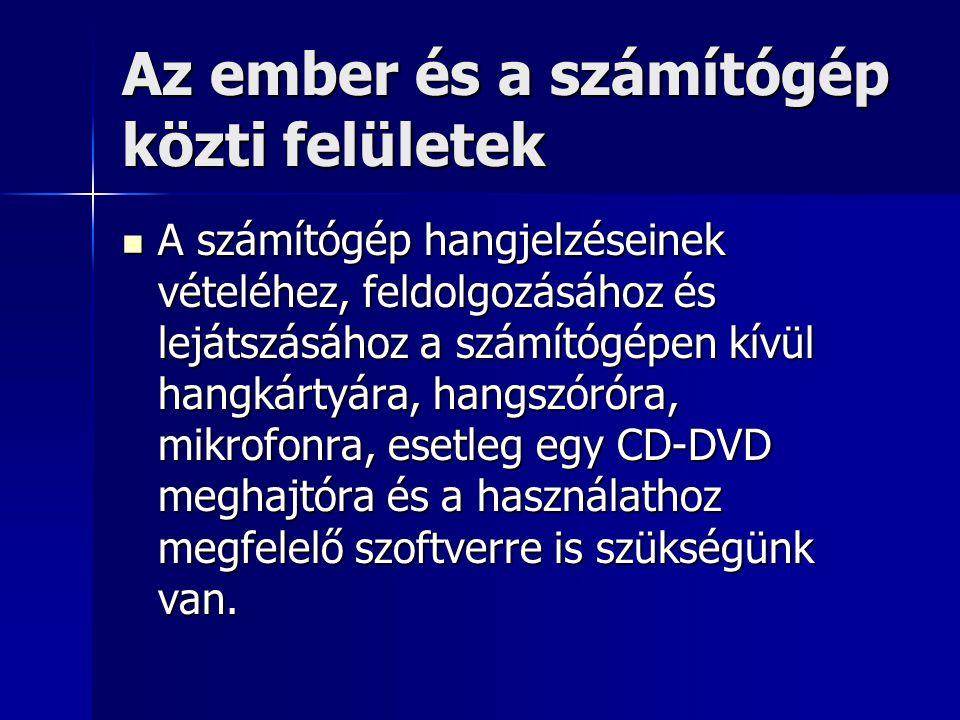 Az ember és a számítógép közti felületek A számítógép hangjelzéseinek vételéhez, feldolgozásához és lejátszásához a számítógépen kívül hangkártyára, h