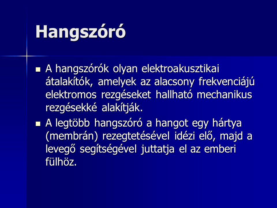 Hangszóró A hangszórók olyan elektroakusztikai átalakítók, amelyek az alacsony frekvenciájú elektromos rezgéseket hallható mechanikus rezgésekké alakí