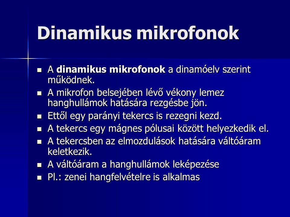 Dinamikus mikrofonok A dinamikus mikrofonok a dinamóelv szerint működnek. A dinamikus mikrofonok a dinamóelv szerint működnek. A mikrofon belsejében l
