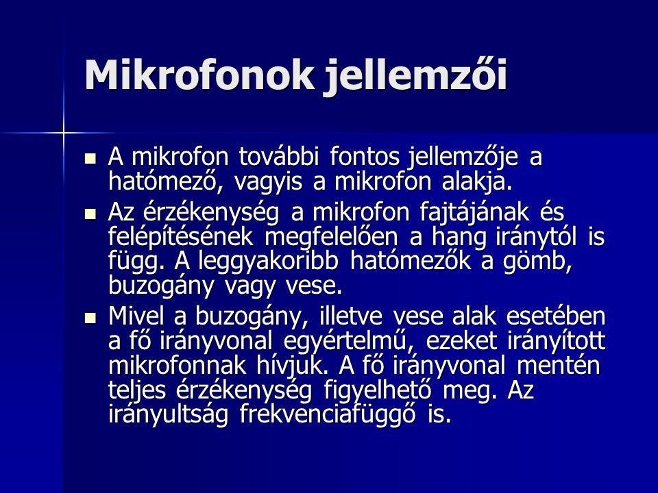 Mikrofonok jellemzői A mikrofon további fontos jellemzője a hatómező, vagyis a mikrofon alakja. A mikrofon további fontos jellemzője a hatómező, vagyi