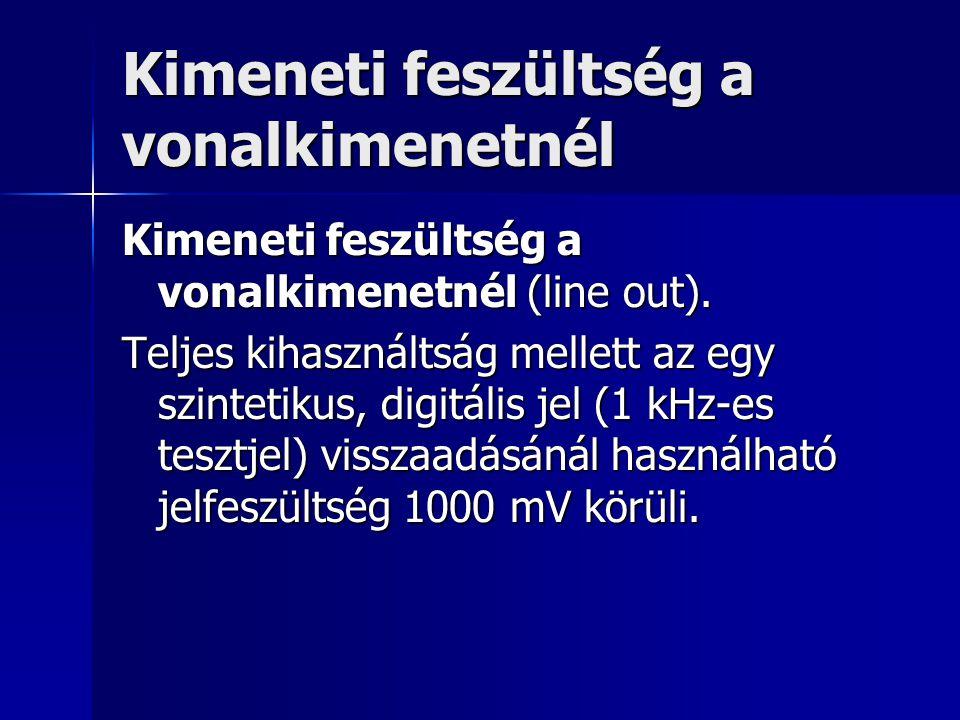 Kimeneti feszültség a vonalkimenetnél Kimeneti feszültség a vonalkimenetnél (line out). Teljes kihasználtság mellett az egy szintetikus, digitális jel