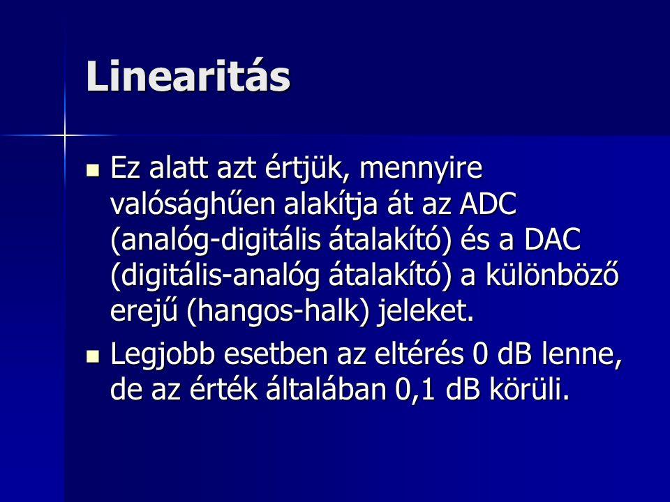 Linearitás Ez alatt azt értjük, mennyire valósághűen alakítja át az ADC (analóg-digitális átalakító) és a DAC (digitális-analóg átalakító) a különböző
