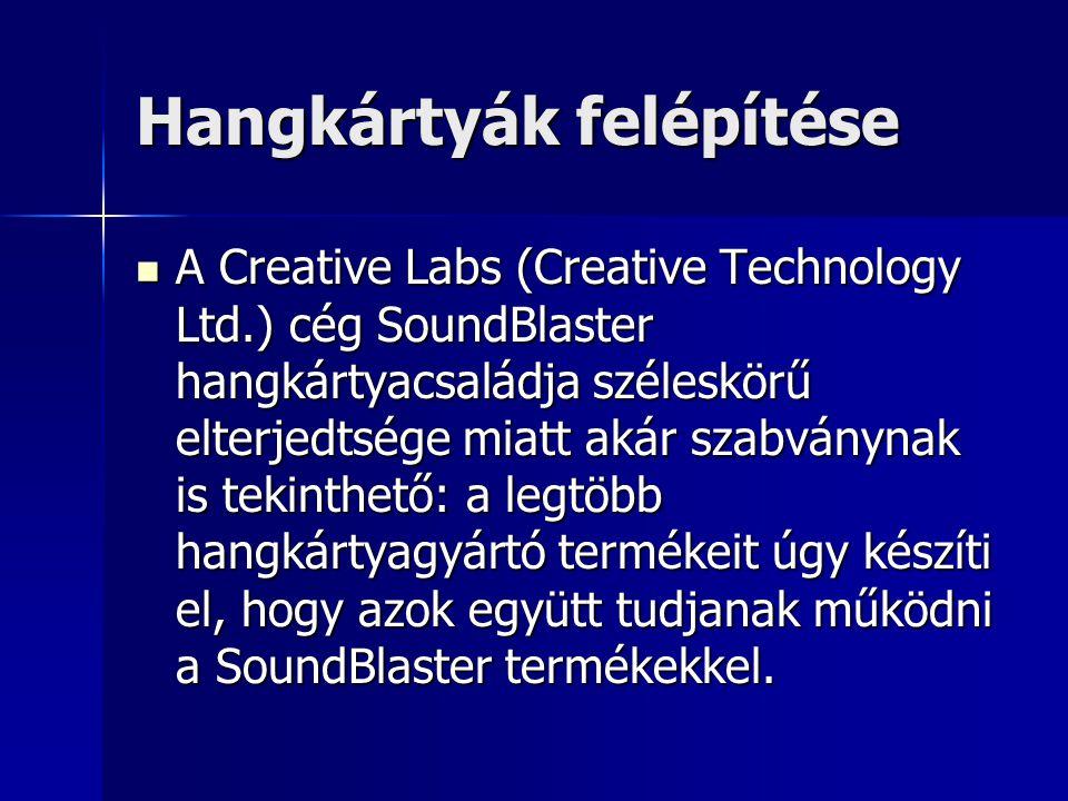 Hangkártyák felépítése A Creative Labs (Creative Technology Ltd.) cég SoundBlaster hangkártyacsaládja széleskörű elterjedtsége miatt akár szabványnak