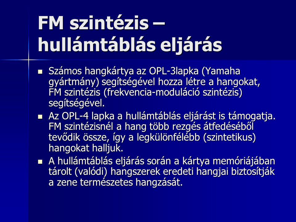 FM szintézis – hullámtáblás eljárás Számos hangkártya az OPL-3lapka (Yamaha gyártmány) segítségével hozza létre a hangokat, FM szintézis (frekvencia-m
