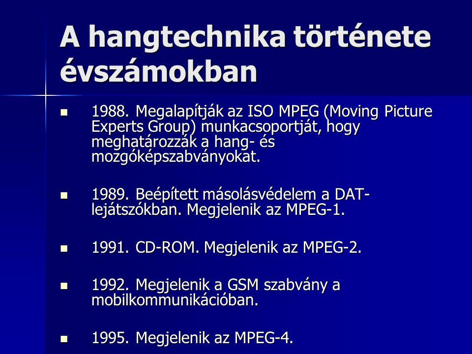 A hangtechnika története évszámokban 1988. Megalapítják az ISO MPEG (Moving Picture Experts Group) munkacsoportját, hogy meghatározzák a hang- és mozg