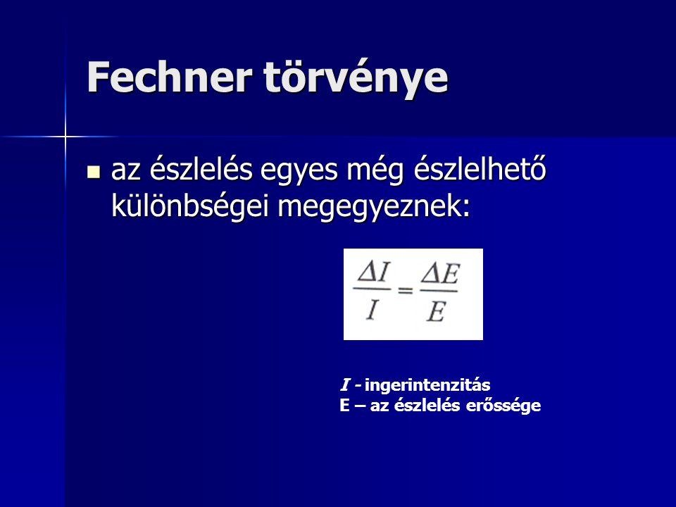 Fechner törvénye az észlelés egyes még észlelhető különbségei megegyeznek: az észlelés egyes még észlelhető különbségei megegyeznek: I - ingerintenzit