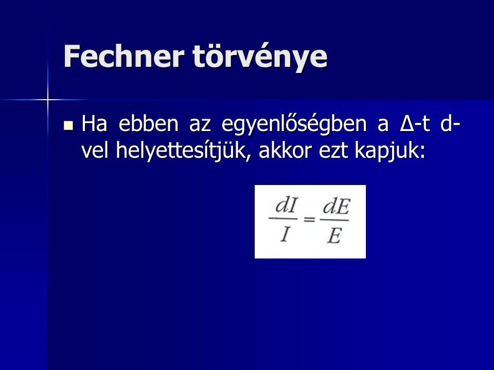 Fechner törvénye Ha ebben az egyenlőségben a Δ-t d- vel helyettesítjük, akkor ezt kapjuk: Ha ebben az egyenlőségben a Δ-t d- vel helyettesítjük, akkor
