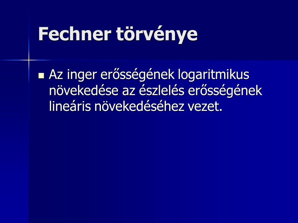 Fechner törvénye Az inger erősségének logaritmikus növekedése az észlelés erősségének lineáris növekedéséhez vezet. Az inger erősségének logaritmikus