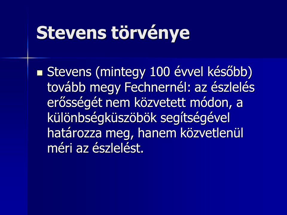 Stevens törvénye Stevens (mintegy 100 évvel később) tovább megy Fechnernél: az észlelés erősségét nem közvetett módon, a különbségküszöbök segítségéve