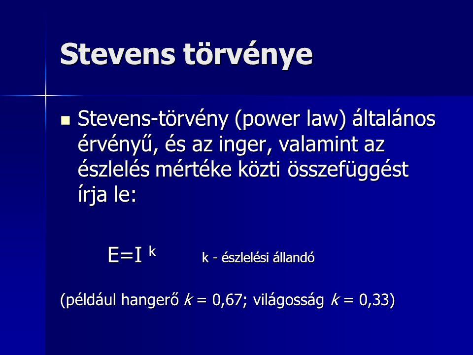 Stevens törvénye Stevens-törvény (power law) általános érvényű, és az inger, valamint az észlelés mértéke közti összefüggést írja le: Stevens-törvény