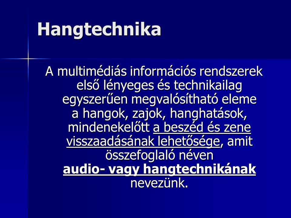 Hangtechnika A multimédiás információs rendszerek első lényeges és technikailag egyszerűen megvalósítható eleme a hangok, zajok, hanghatások, mindenek