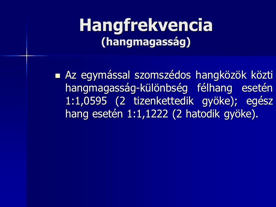 Hangfrekvencia (hangmagasság) Az egymással szomszédos hangközök közti hangmagasság-különbség félhang esetén 1:1,0595 (2 tizenkettedik gyöke); egész h