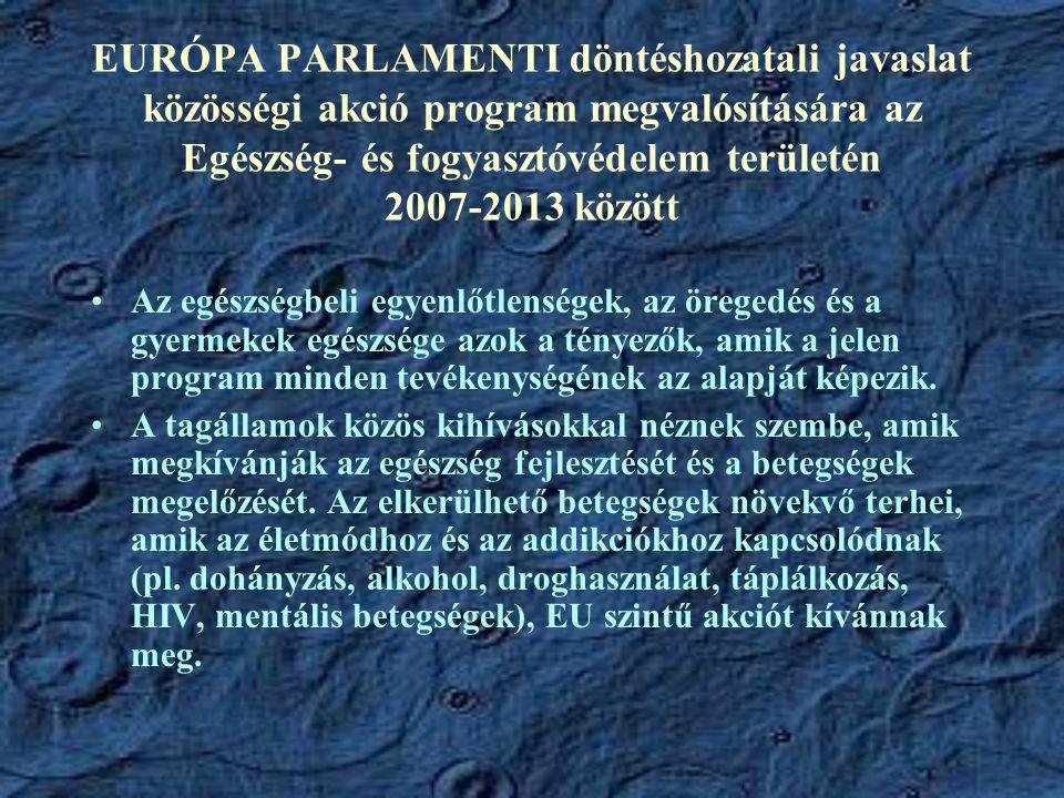EURÓPA PARLAMENTI döntéshozatali javaslat közösségi akció program megvalósítására az Egészség- és fogyasztóvédelem területén 2007-2013 között Az egész