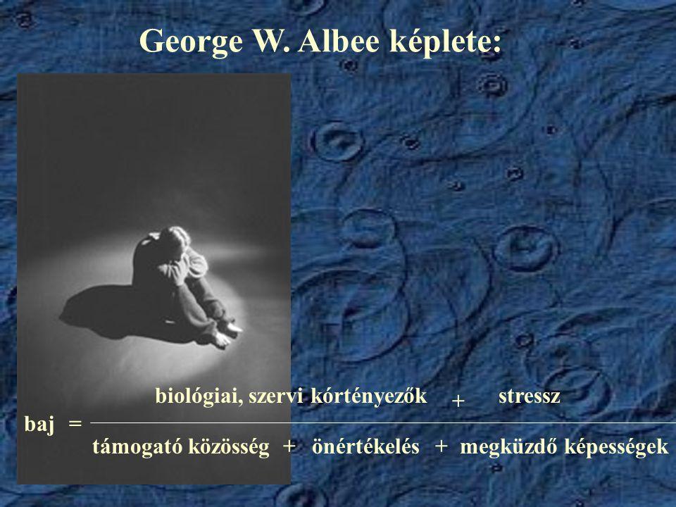 George W. Albee képlete: baj= biológiai, szervi kórtényezők + stressz támogató közösségönértékelésmegküzdő képességek++