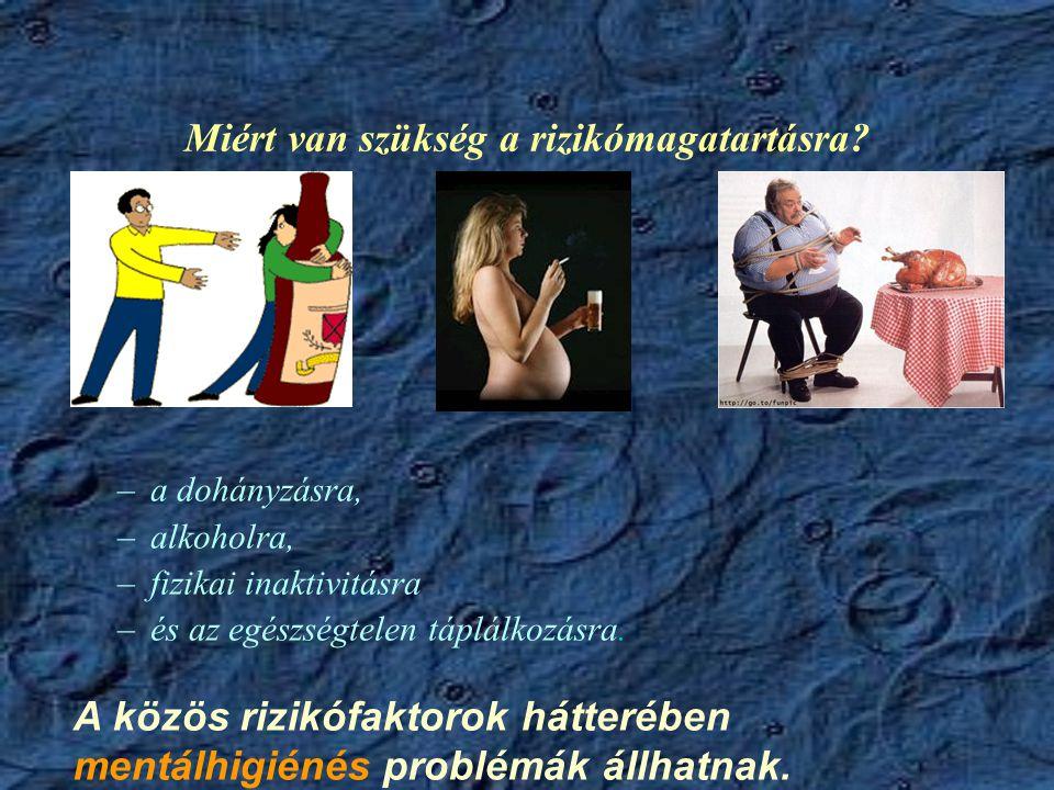 Miért van szükség a rizikómagatartásra? –a dohányzásra, –alkoholra, –fizikai inaktivitásra –és az egészségtelen táplálkozásra. A közös rizikófaktorok