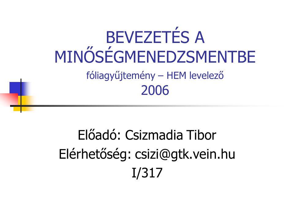 BEVEZETÉS A MINŐSÉGMENEDZSMENTBE fóliagyűjtemény – HEM levelező 2006 Előadó: Csizmadia Tibor Elérhetőség: csizi@gtk.vein.hu I/317