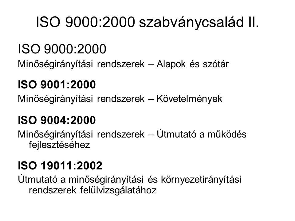 ISO 9000:2000 szabványcsalád II.