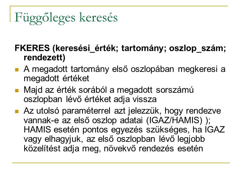 Függőleges keresés FKERES (keresési_érték; tartomány; oszlop_szám; rendezett) A megadott tartomány első oszlopában megkeresi a megadott értéket Majd a