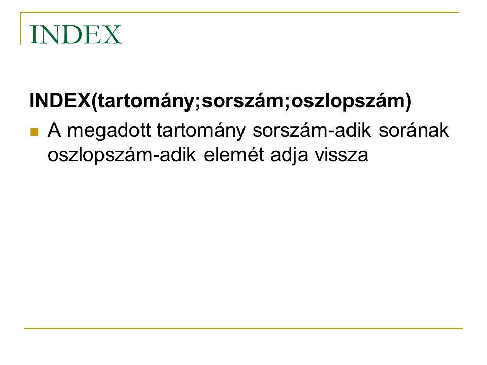 INDEX INDEX(tartomány;sorszám;oszlopszám) A megadott tartomány sorszám-adik sorának oszlopszám-adik elemét adja vissza