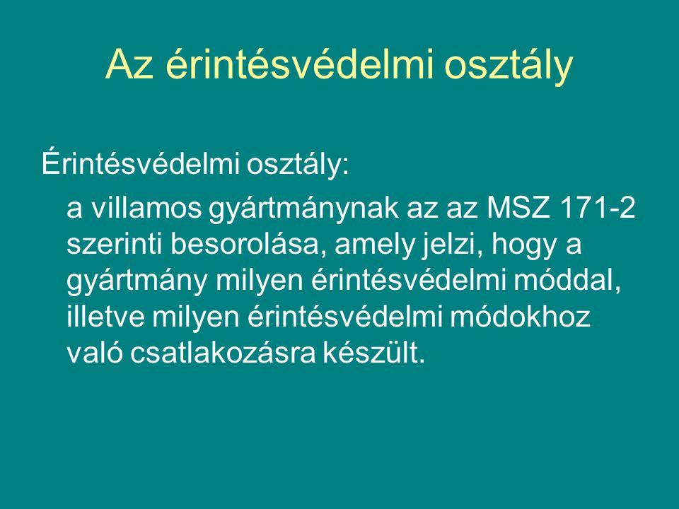 Az érintésvédelmi osztály Érintésvédelmi osztály: a villamos gyártmánynak az az MSZ 171-2 szerinti besorolása, amely jelzi, hogy a gyártmány milyen ér