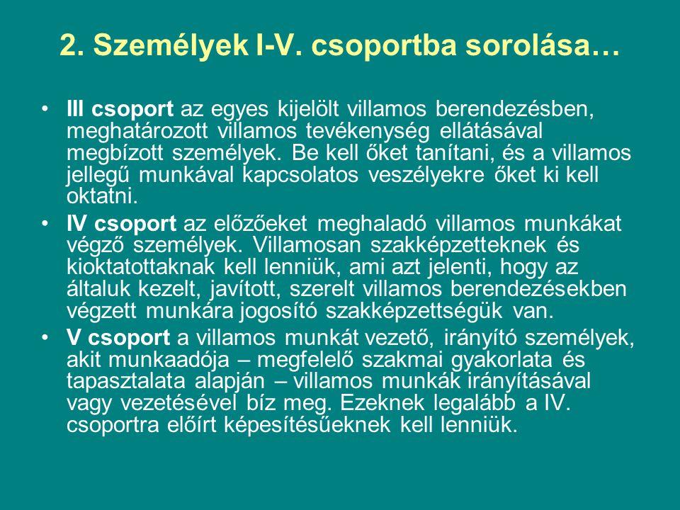 2. Személyek I-V. csoportba sorolása… III csoport az egyes kijelölt villamos berendezésben, meghatározott villamos tevékenység ellátásával megbízott s