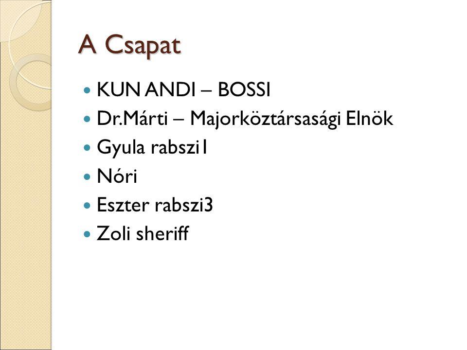 A Csapat KUN ANDI – BOSSI Dr.Márti – Majorköztársasági Elnök Gyula rabszi1 Nóri Eszter rabszi3 Zoli sheriff